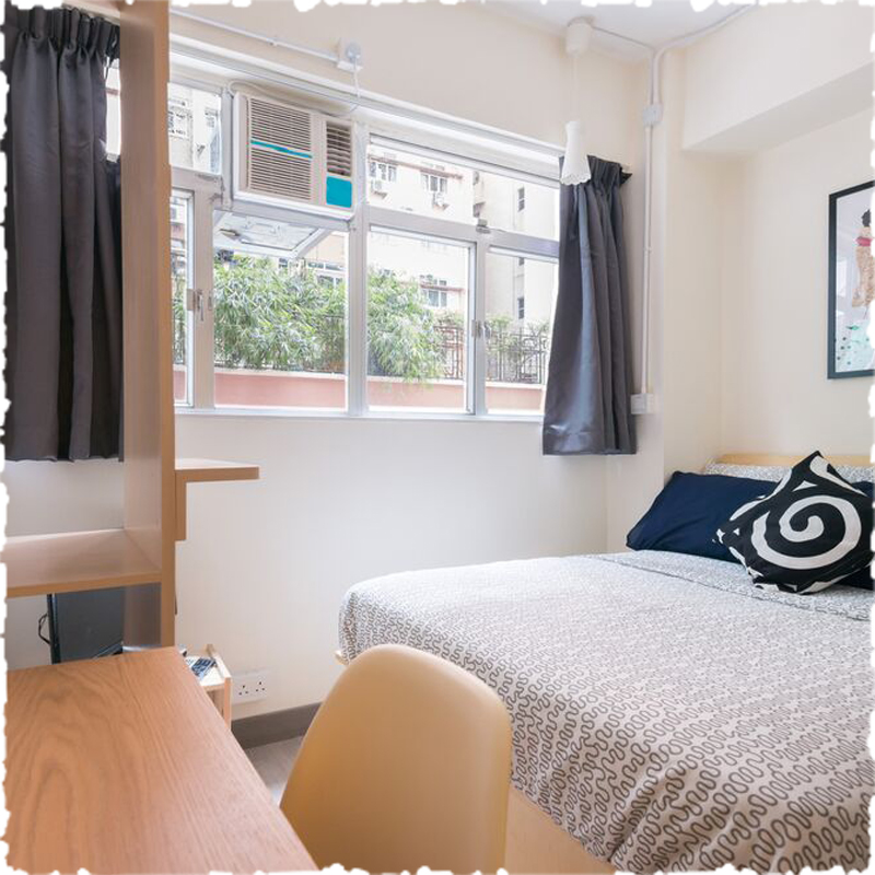 serviced apartment in sai ying pun with simple design, use white and blue color